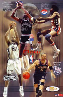 "San Antonio Spurs New Jersey Nets ABA-NBA ""Then And Now"" Poster - Starline 2003"