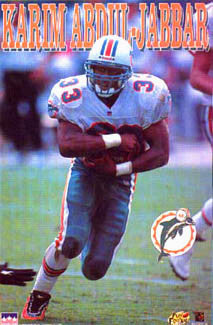 "Karim Abdul-Jabbar ""Action"" Miami Dolphins NFL Action Poster - Starline Inc. 1996"