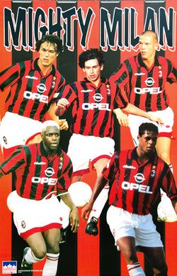 "AC Milan ""Mighty Milan"" Serie A Football Action Poster - Starline Inc. 1997"
