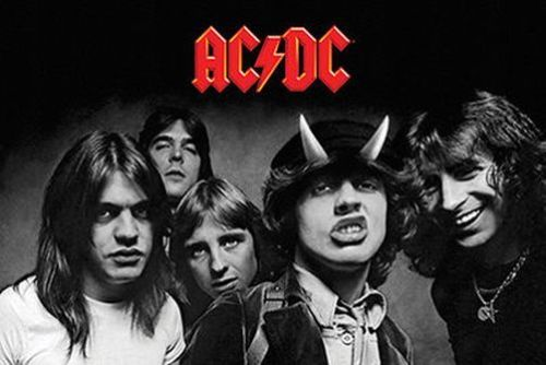 AC/DC Highway to Hell (1979) Album Cover Black-and-White Poster - Aquarius Images