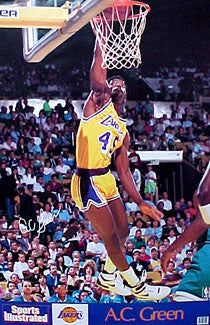 "AC Green ""PowerSlam"" Los Angeles Lakers NBA Action Poster - Marketcom/SI 1990"