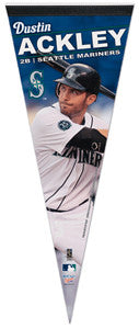 "Dustin Ackley ""Mariners Action"" Premium Felt Collector's Pennant (LE /1000)"