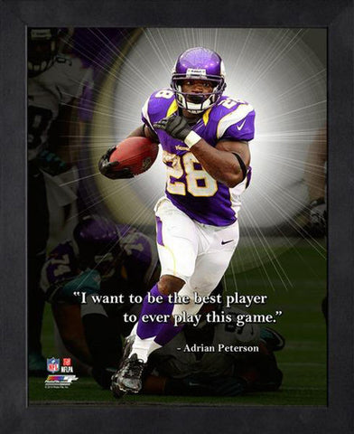"Adrian Peterson ""Be the Best"" Minnesota Vikings FRAMED 16x20 PRO QUOTES PRINT - Photofile"