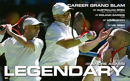 "Andre Agassi ""Legendary"" Career Grand Slam Tennis Poster - Ace Authentic"