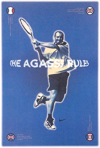 "Andre Agassi ""The Agassi Rules"" Vintage Nike Tennis Poster (c.1997)"