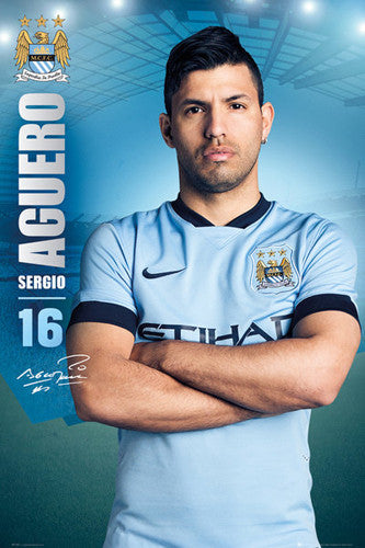 "Sergio Aguero ""Signature Series"" Manchester City FC Official EPL Poster - GB Eye (UK)"