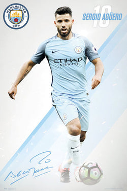 "Sergio Aguero ""Signature Series"" Manchester City FC Official EPL Football Poster - GB Eye 2016/17"