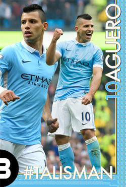 "Sergio Aguero ""#TALISMAN"" Manchester City FC EPL Soccer Poster - Starz"