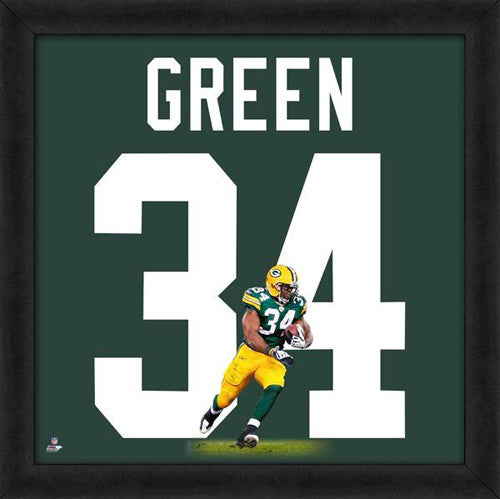 "Ahman Green ""Number 34"" Green Bay Packers NFL FRAMED 20x20 UNIFRAME PRINT - Photofile"