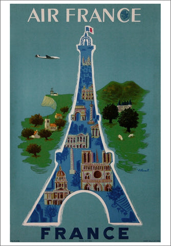 Fly Air France Eiffel Tower Design Vintage Travel Poster Reprint (c.1955) by Bernard Villemot