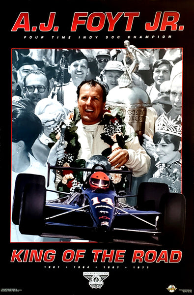"A.J. Foyt ""King of the Road"" Indy 500 Champion Series Racing Superstar Poster - Costacos Brothers 1994"