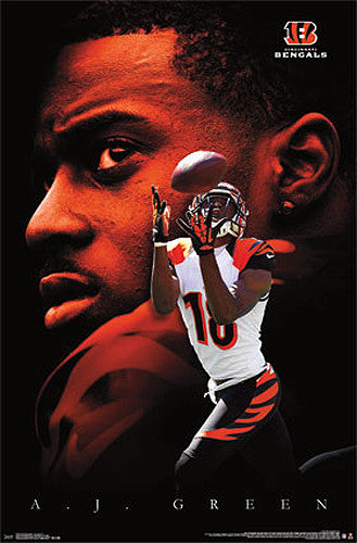 "A.J. Green ""Superstar"" Cincinnati Bengals NFL Football Action Poster - Costacos 2013"
