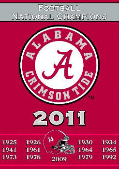 "Alabama Crimson Tide ""14-Time Champs"" Commemorative Banner"