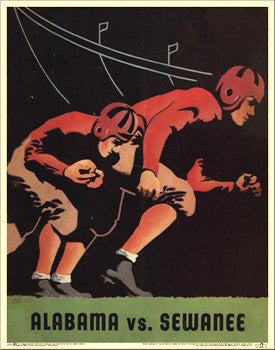Alabama Crimson Tide 1938 vs. Sewanee Vintage Program Cover Poster - Asgard Press