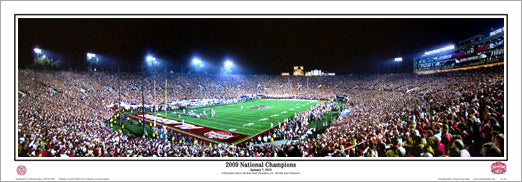 Alabama Crimson Tide 2009 National Champions Panoramic Poster Print - Everlasting