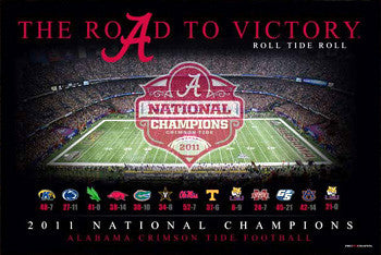 "Alabama Crimson Tide ""Road to Victory"" (2011 NCAA Football Champs) Poster - ProGraphs"
