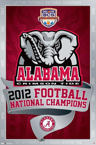 Alabama Crimson Tide 2012 NCAA Football National Champs Commemorative Poster