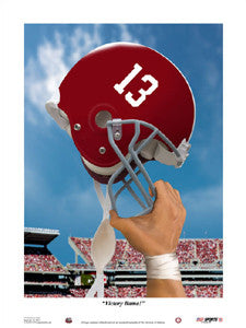 """Victory Alabama"" Crimson Tide Football Art Print - USA Sports Inc."
