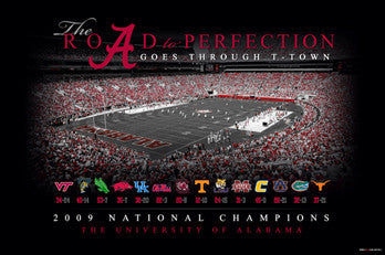 "Alabama Crimson Tide ""Road to Perfection"" (2009 National Champs) Poster - ProGraphs Inc."