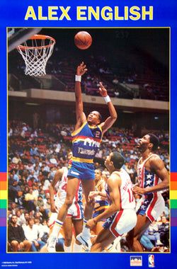 "Alex English ""Superstar"" Denver Nuggets NBA Basketball Poster - Starline 1989"