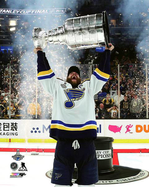 "*SHIPS 6/20* St. Louis Blues ""Captain Hoists the Cup"" (Alex Pietrangelo) 2019 Stanley Cup Champs Premium Poster Print - Photofile 16x20"