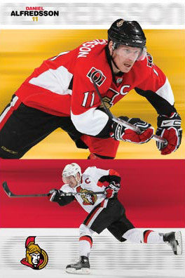 "Daniel Alfredsson ""Double Action"" Ottawa Senators NHL Hockey Poster - Costacos 2008"