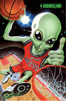 "Basketball Alien ""Team Roswell"" High-Flying Action Poster - Trends 2004"