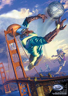 "Soccer Fantasy ""Stadium Earth 2050"" Goalkeeper Save over Golden Gate Bridge Poster - Pyramid 2002"