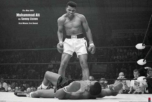 "Muhammad Ali ""Liston Knockout 1965"" (Horizontal) Classic Boxing Poster - Pyramid"