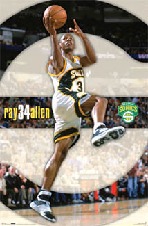 "Ray Allen ""Drive"" Seattle Sonics Poster - Costacos 2006"