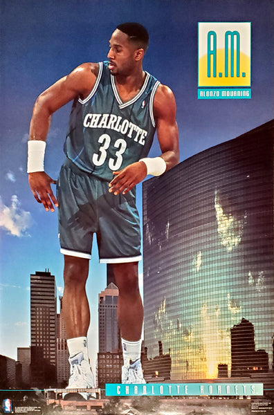 "Alonzo Mourning ""A.M."" Charlotte Hornets NBA Action Poster - Costacos 1993"