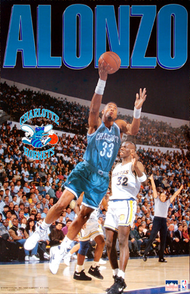 "Alonzo Mourning ""Action"" Charlotte Hornets NBA Action Poster - Starline 1993"