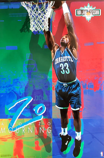 "Alonzo Mourning ""Jam Session"" Charlotte Hornets NBA Action Poster - Costacos Brothers 1993"