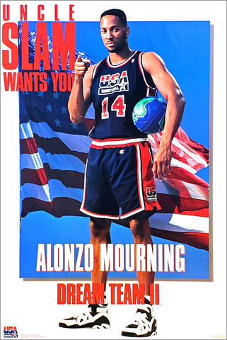 "Alonzo Mourning ""Uncle Slam Wants You"" 1994 Team USA FIBA Basketball Poster - Costacos Brothers"