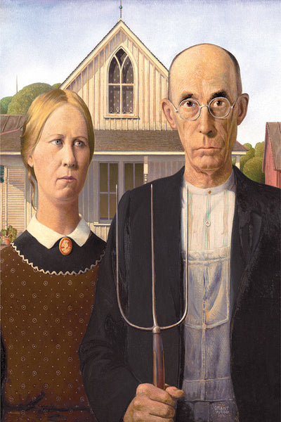 American Gothic by Grant Wood (1930) Classic Art Masterpiece Poster Reproduction - Eurographics Inc.