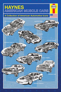 """American Muscle Cars"" (Haynes Schematic Art) - Pyramid Posters"