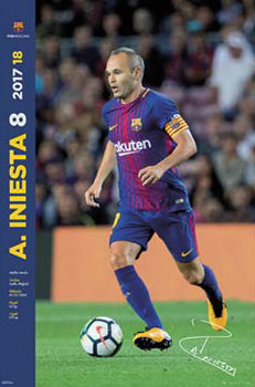 "Andres Iniesta ""Signature Series"" FC Barcelona Official La Liga Soccer Action Poster - G.E. (Spain) 2017"