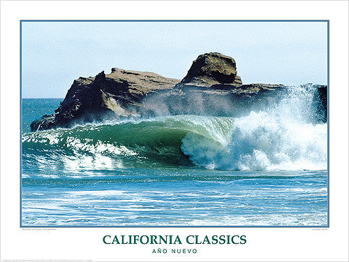 "Surfing ""Ano Nuevo"" California Classics Poster Print - Creation Captured"