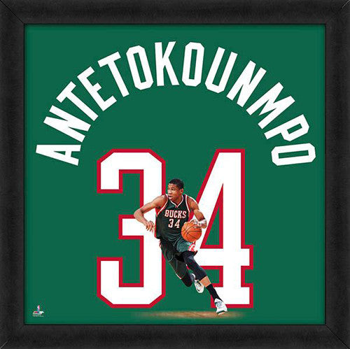 "Giannis Antetokounmpo ""Number 34"" Milwaukee Bucks NBA FRAMED 20x20 UNIFRAME PRINT - Photofile"