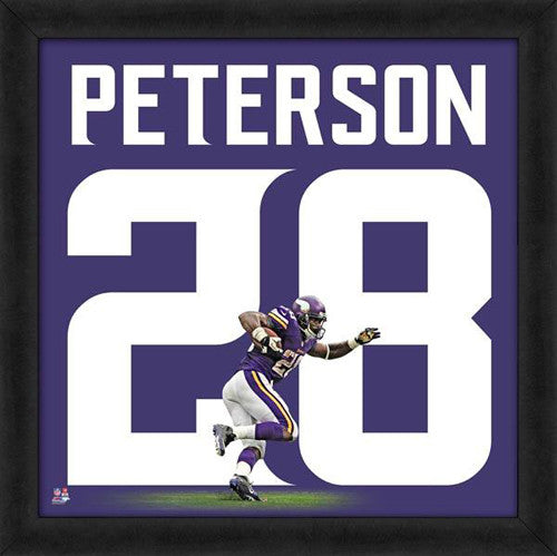 "Adrian Peterson ""Number 28"" Minnesota Vikings FRAMED 20x20 UNIFRAME PRINT - Photofile"