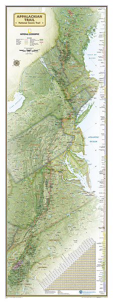 The Appalachian Trail National Geographic 18x48 Hiking Wall Map Poster - NG Maps