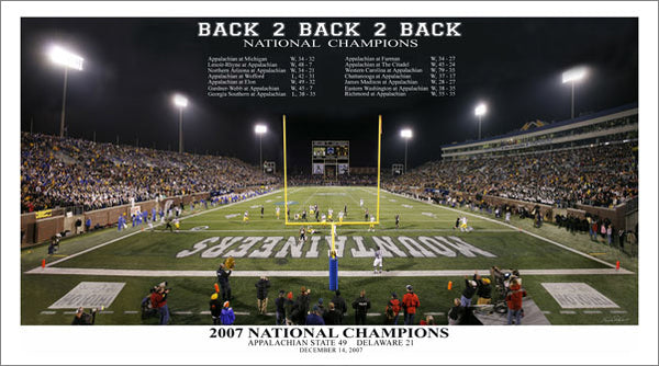 "Appalachian State Football ""Back 2 Back 2 Back"" (2007 National Champions) Premium Poster Print"