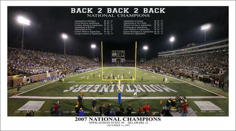 "Appalachian State Football ""Back 2 Back 2 Back"" (2007) Premium Poster Print"