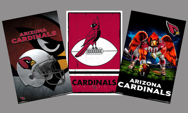 COMBO: Arizona Cardinals NFL Football Logo Theme Art 3-Poster Combo Set - Trends International
