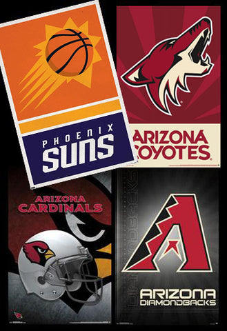 COMBO: Phoenix, Arizona Sports 4-Poster Combo Set (Suns, Coyotes, Cardinals, Diamondbacks)