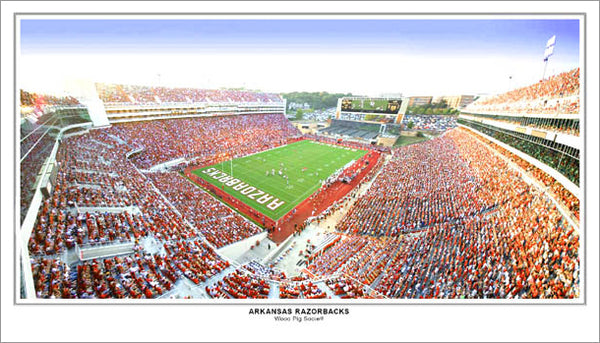 "Arkansas Razorbacks ""Wooo Pig Sooie!!"" Gameday Panorama Poster Print"