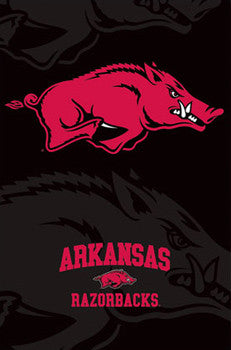 "University of Arkansas Razorbacks ""Storming Hog"" Official Team Logo Poster - Costacos Sports"