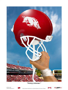 """Victory Arkansas"" Razorbacks Football Art Print - USA Sports Inc."