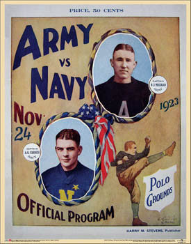 Army vs. Navy 1923 Football Vintage Program Poster Reprint