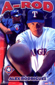 "Alex Rodriguez ""Power"" Texas Rangers Poster - Starline 2001"